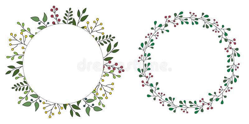 手拉的套与绿色叶子的花卉传染媒介花圈,圆草本的森林,逗人喜爱的土气框架边界印刷品 免版税库存图片