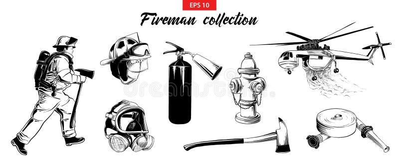 手拉的剪影套消防队员,灭火器,消防栓,直升机,防毒面具,firehose 库存例证