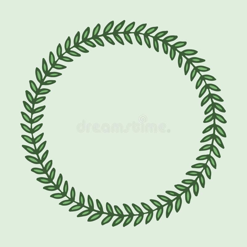 手拉的框架,逗人喜爱的圆的传染媒介背景,与叶子的绿色圈子 向量例证