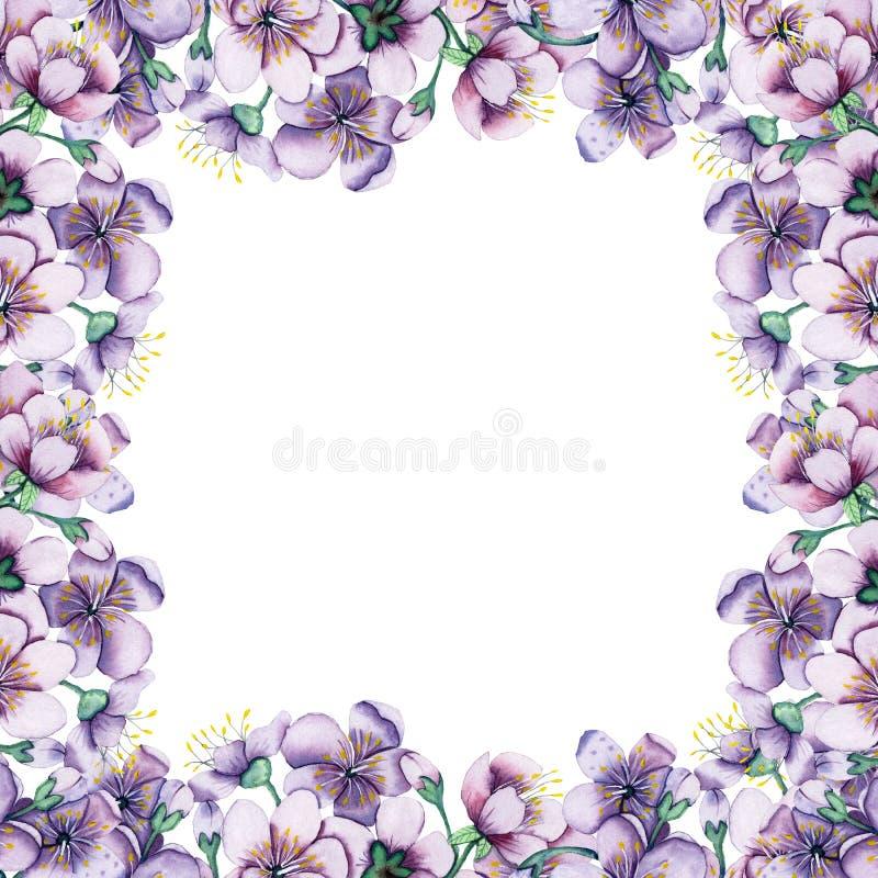 手拉的水彩花卉框架 卡片、行情和打印的和婚姻的邀请的背景 向量例证