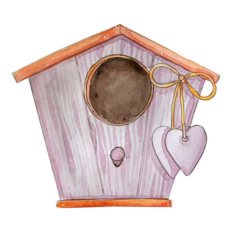 手拉的有心脏的水彩逗人喜爱的鸟房子 库存例证