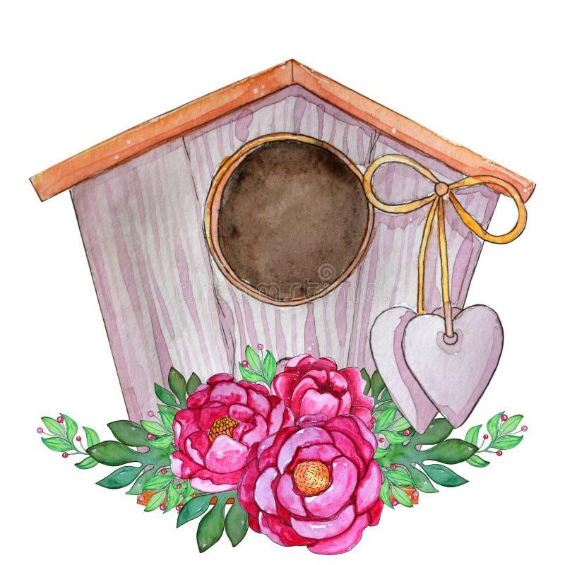 手拉的有心脏的水彩逗人喜爱的鸟房子 向量例证