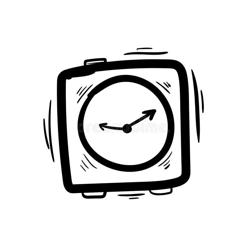 手拉的手表、乱画剪影手表、闹钟和钟表集合 皇族释放例证