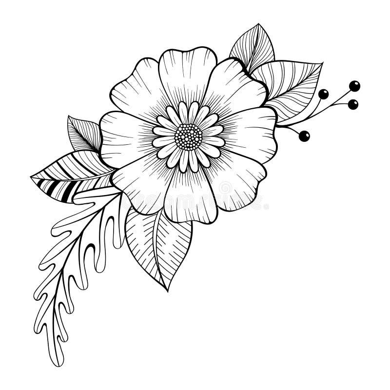 手拉的花卉乱画背景 您的设计的装饰花 皇族释放例证