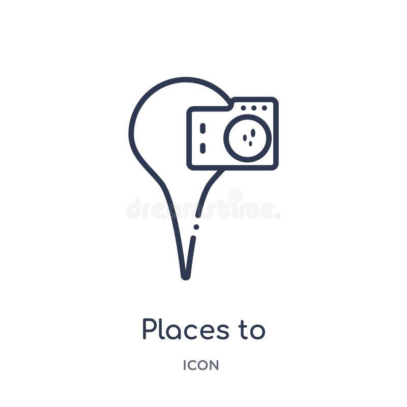 拍摄从地图和地点概述汇集的象的线性地方 稀薄的线拍摄象的地方隔绝在白色 向量例证