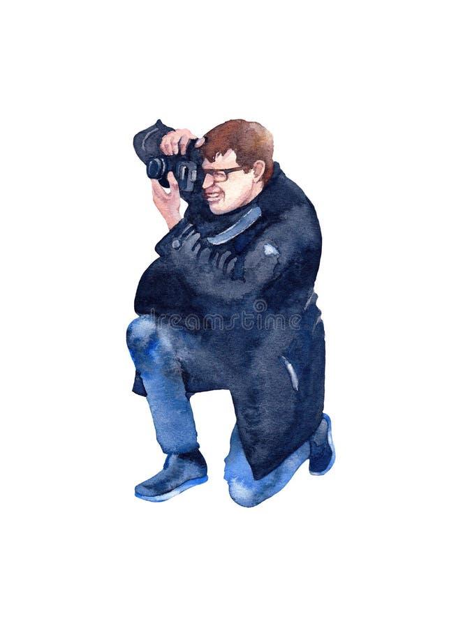 拍摄黑色大衣、蓝色裤子和时髦的鞋子的年轻人 额嘴装饰飞行例证图象其纸部分燕子水彩 库存例证