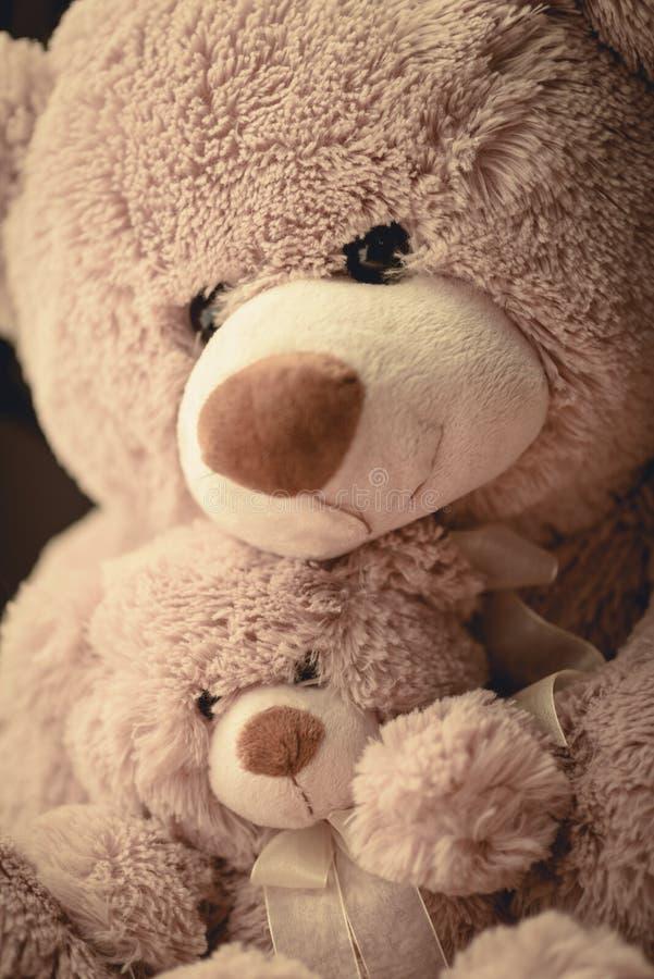 拥抱她可爱的儿子玩具熊的母亲 免版税库存图片