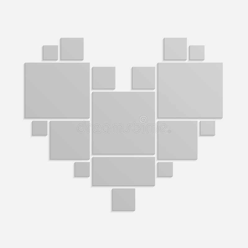 拼贴画17个框架,您的爱的照片,家庭 库存例证