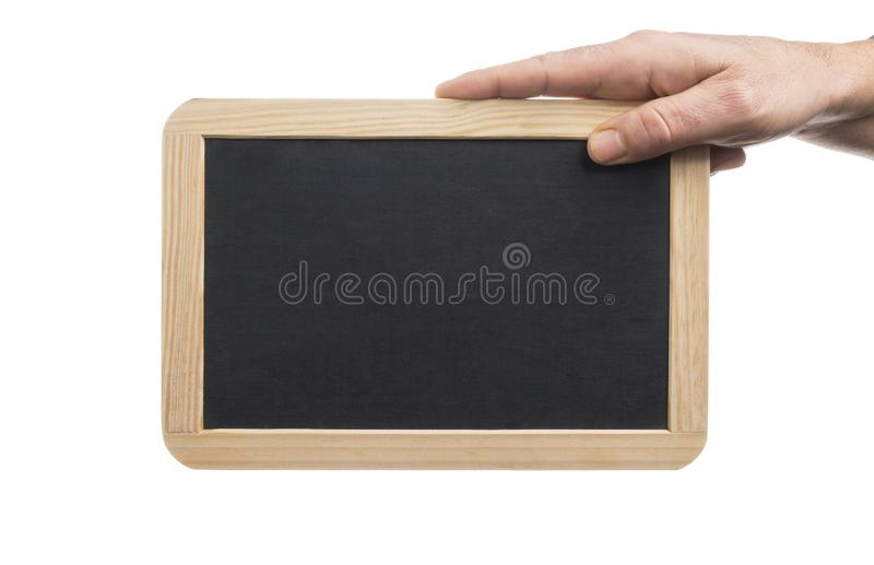 拿着与木制框架的播种的手一个空白石板板,隔绝在白色背景 免版税库存照片