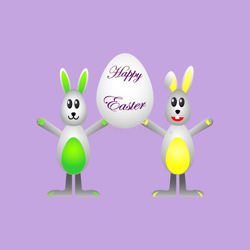 拿着与愿望的复活节兔子鸡蛋复活节快乐的 库存例证