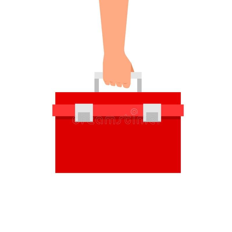 拿着红色工具箱的手 库存例证