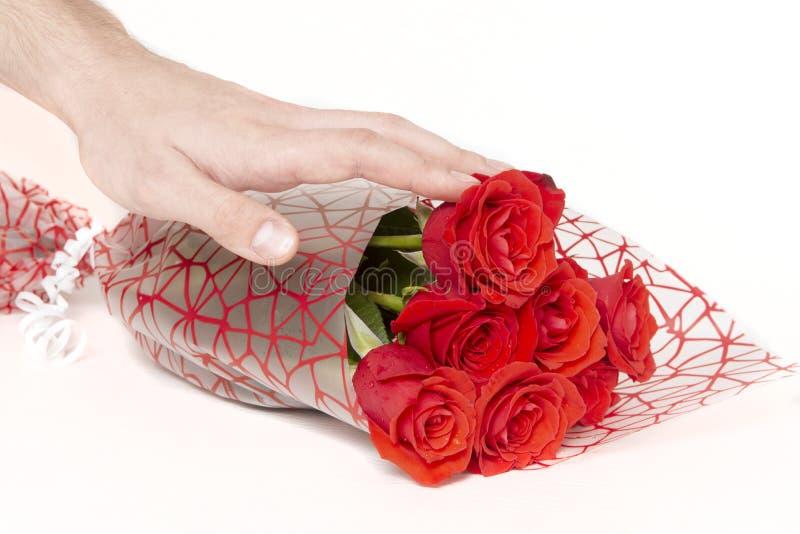 拿着玫瑰的花束在白色背景的手 免版税库存图片