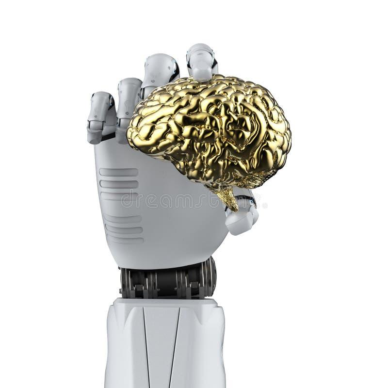 拿着脑子的机器人手 皇族释放例证