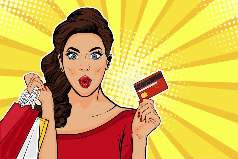拿着购物带来和信用卡的流行艺术年轻女人 皇族释放例证
