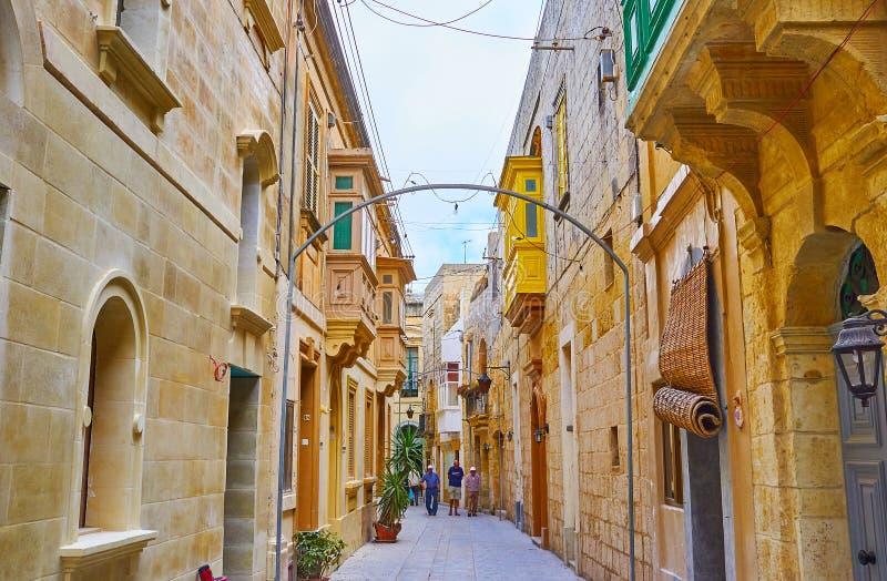 拉巴特,马耳他狭窄的街道迷宫  免版税图库摄影