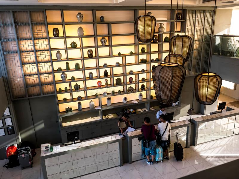 曼谷,泰国- 2017年6月13日:头等旅馆中央驻地曼谷的招待会 免版税库存图片