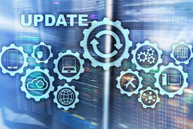 更新在虚屏服务器室Datacenter背景的软件计算机 更新概念的技术 皇族释放例证