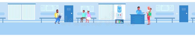 总台的女性护士有母亲和儿子患者等候行列的队列咨询医学概念医院 库存例证