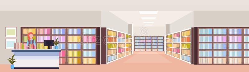 总台现代图书馆内部书架室书橱的图书管理员妇女有书的读教育的 库存例证