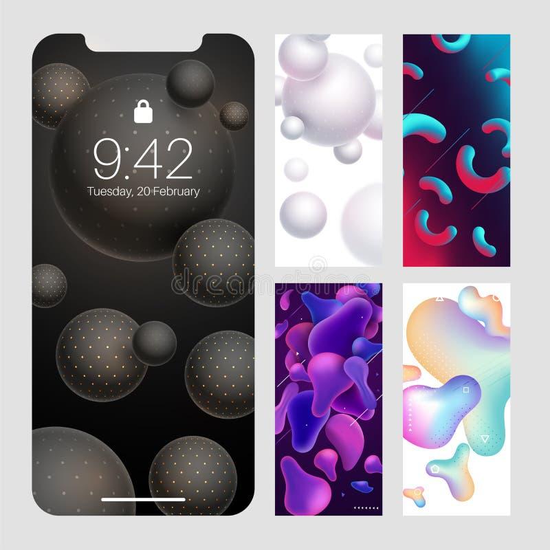 智能手机窗口的抽象现代墙纸设计 库存例证