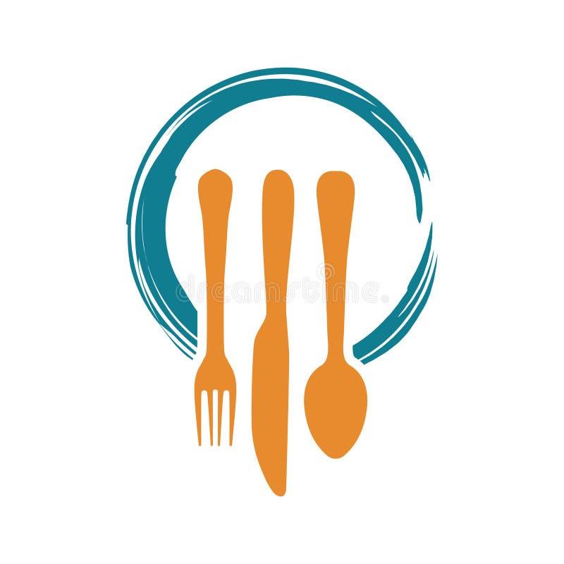 晚餐午餐食物与叉子匙子刀子的餐馆商标 库存例证