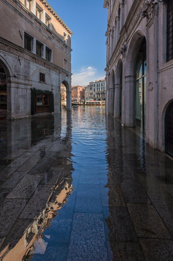 洪水,威尼斯,意大利 库存图片