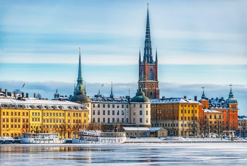 斯德哥尔摩Gamla斯坦冬天风景 库存照片