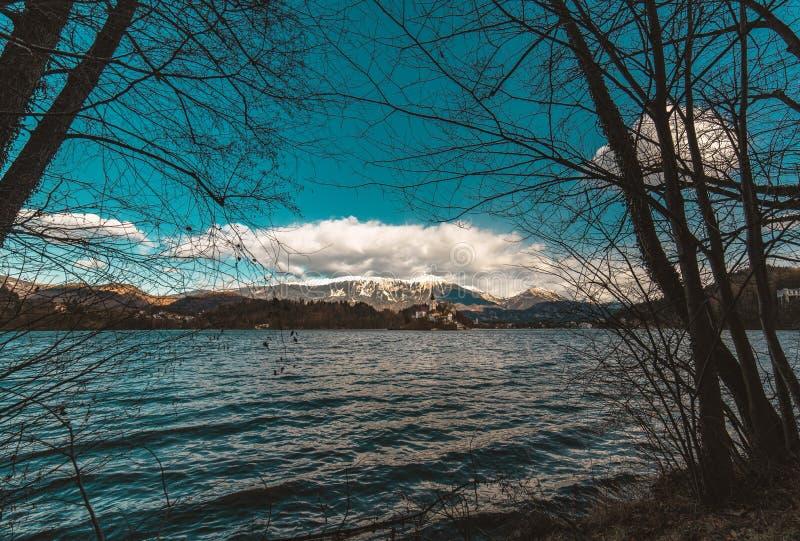 斯洛文尼亚布莱德湖风景 有一个小教会的美丽的山湖 最著名的斯洛文尼亚湖和Bled海岛  库存照片