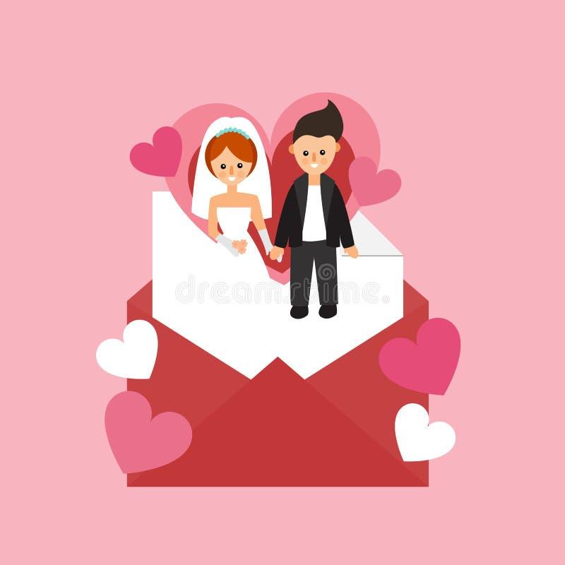 新娘仪式教会新郎婚礼 愉快的婚姻的夫妇在信封和心脏 信包重点信函爱 向量例证