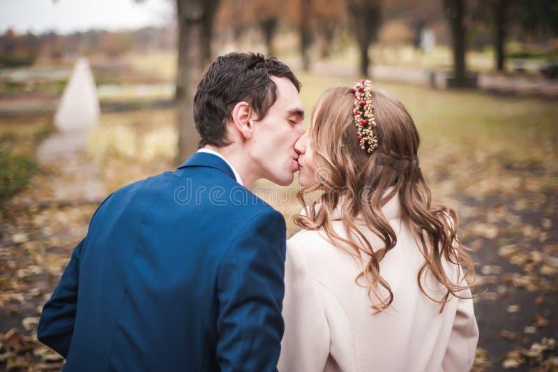 新婚佳偶坐长木凳在秋天庭院,后面看法里 免版税库存图片