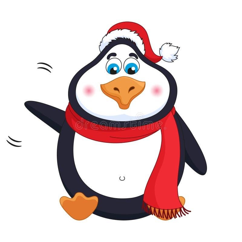 新年种类快乐的逗人喜爱的企鹅欢迎,波浪爪子 向量例证