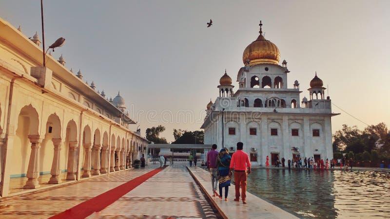 新德里,印度- 2019年1月21日,Gurudwara那纳克Piao萨希卜,Gurdwara那纳克Piao是位于北部的历史Gurudwara 库存照片