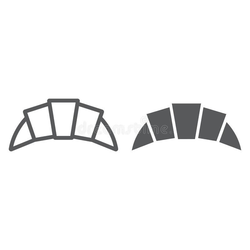 新月形面包线和纵的沟纹象,食物和可口,面包店标志,向量图形,在白色背景的一个线性样式 库存例证