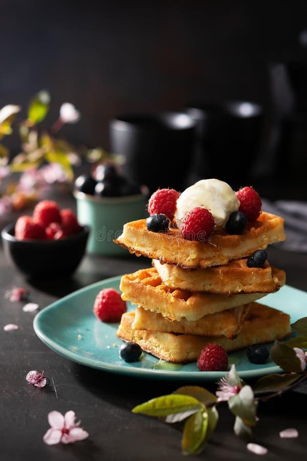 新近地烘烤了奶蛋烘饼用莓、莓果、蜂蜜和咖啡早餐或早午餐在黑暗的背景与拷贝空间 免版税库存图片
