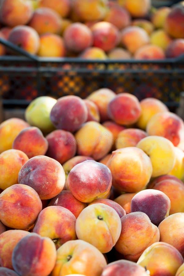 新鲜的有机水多的桃子在市场上 免版税库存图片