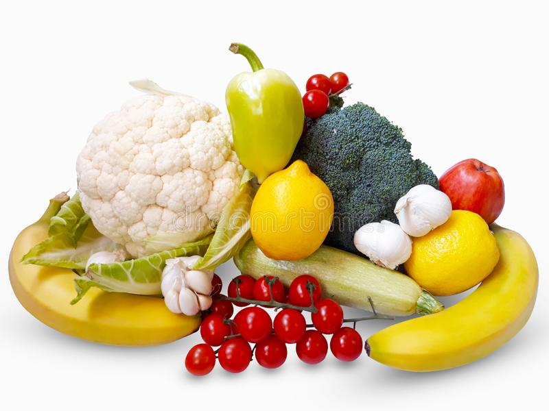 新鲜蔬菜和果子在白色背景 免版税库存照片