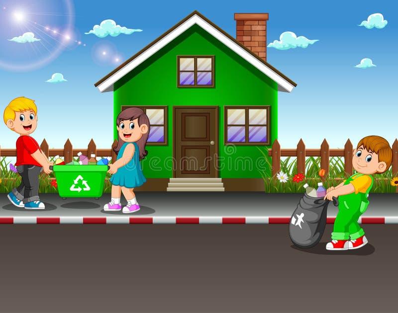 收集垃圾的志愿孩子在房子街道  向量例证