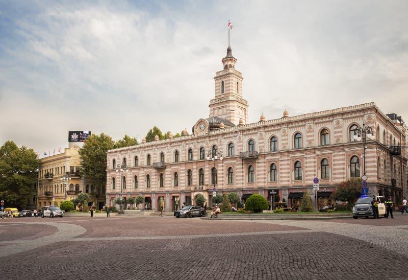 政府大厦,自由广场,第比利斯 库存照片