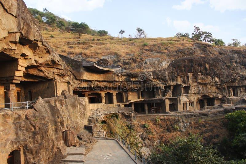 洞1 - 6,佛教洞,Ellora,奥郎加巴德,马哈拉施特拉外部看法  库存照片