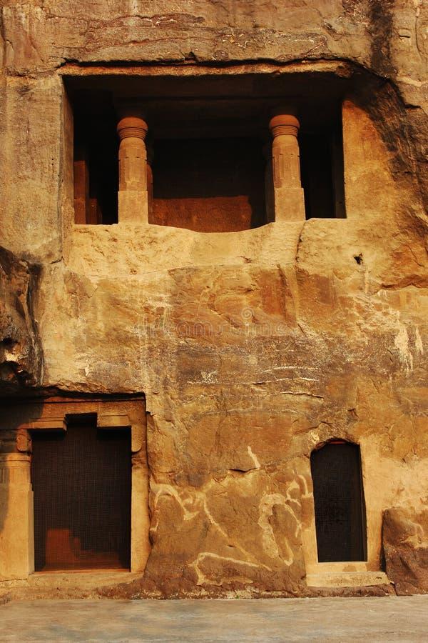 洞7,佛教洞,Ellora,奥郎加巴德,马哈拉施特拉门面  库存图片