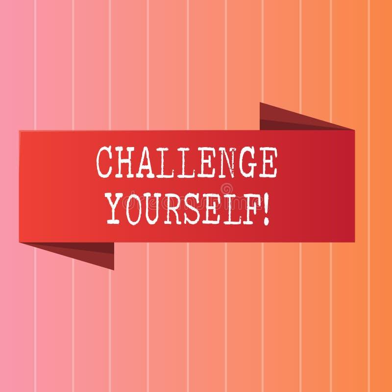 文字笔记陈列挑战  陈列被克服的信心强的鼓励改善的企业照片 向量例证