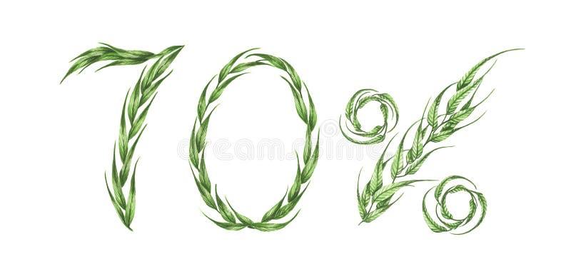 70%文本,从绿色叶子的百分之七十 额嘴装饰飞行例证图象其纸部分燕子水彩 向量例证