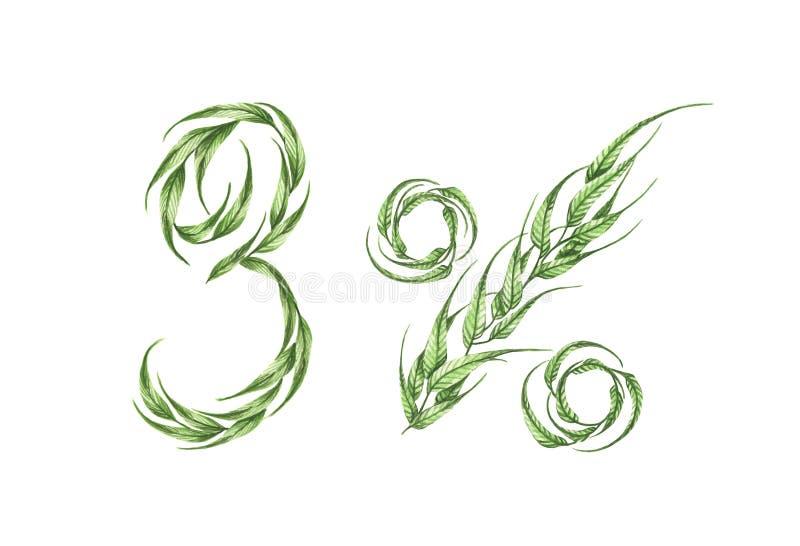 3%文本,从绿色叶子的百分之三 额嘴装饰飞行例证图象其纸部分燕子水彩 向量例证