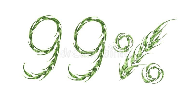 99%文本,从绿色叶子的百分之九十九 额嘴装饰飞行例证图象其纸部分燕子水彩 向量例证