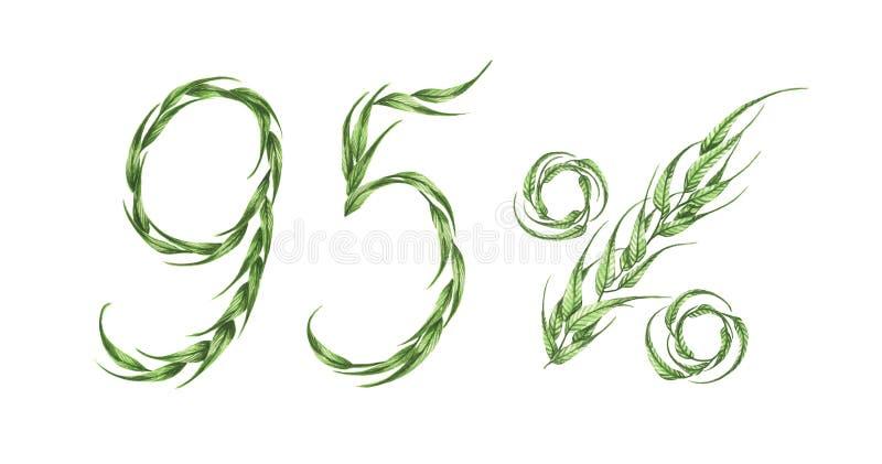 95%文本,从绿色叶子的百分之九十五 额嘴装饰飞行例证图象其纸部分燕子水彩 向量例证
