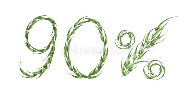 90%文本,从绿色叶子的百分之九十 额嘴装饰飞行例证图象其纸部分燕子水彩 皇族释放例证