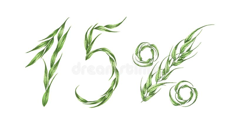 15%文本,从绿色叶子的百分之十五 额嘴装饰飞行例证图象其纸部分燕子水彩 向量例证