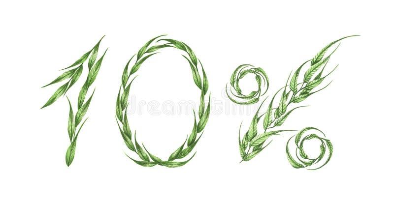 10%文本,从绿色叶子的百分之十 额嘴装饰飞行例证图象其纸部分燕子水彩 库存例证