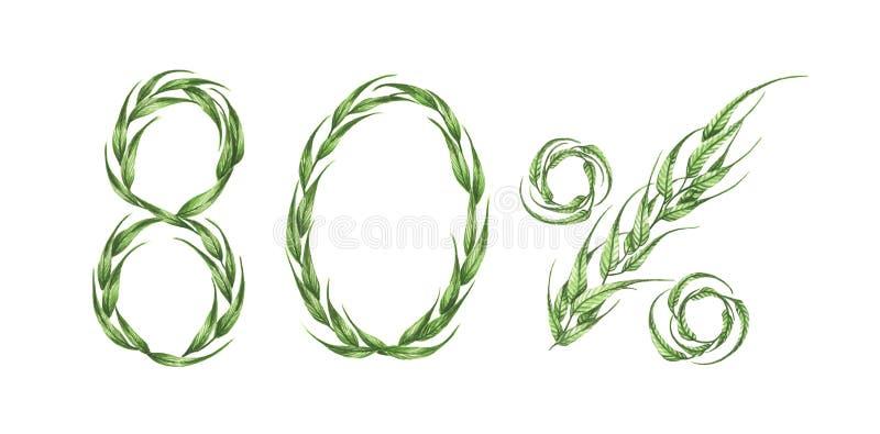 80%文本,从绿色叶子的百分之八十 额嘴装饰飞行例证图象其纸部分燕子水彩 向量例证