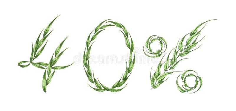 40%文本,从绿色叶子的百分之四十 额嘴装饰飞行例证图象其纸部分燕子水彩 皇族释放例证